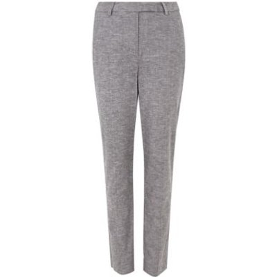M&S Womens Mia Slim Linen Ankle Grazer Trousers - 6REG - Grey, Grey