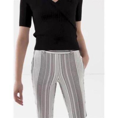 M&S Womens Mia Slim Cotton Striped Trousers - 6REG - Ivory Mix, Ivory Mix