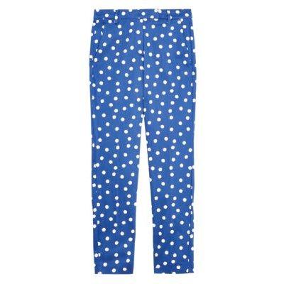 M&S Womens Cotton Polka Dot Slim Fit 7/8 Trousers - 6SHT - Navy Mix, Navy Mix