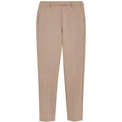 M&S Womens Mia Slim Crepe Ankle Grazer Trousers - 6SHT - Camel, Camel
