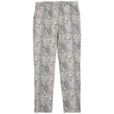 M&S Womens Mia Slim Animal Print Ankle Grazer Trousers - 8LNG - Navy Mix, Navy Mix