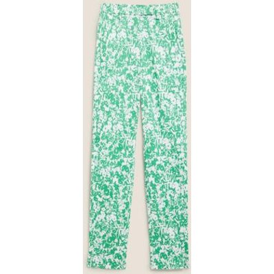 M&S Womens Mia Slim Cotton Floral 7/8 Trousers - 8SHT - Green Mix, Green Mix