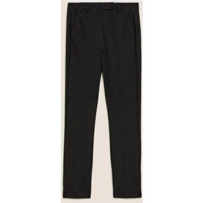 M&S Womens Pin Dot Slim Fit Ankle Grazer Trousers - 6SHT - Black Mix, Black Mix