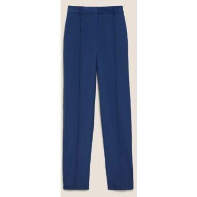 M&S Womens Freya Straight High Waisted Trousers - 12LNG - Blue, Blue,Dark Navy