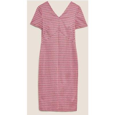 M&S Womens Jersey Dogtooth V-Neck Midi Tailored Dress - 8 - Pink Mix, Pink Mix