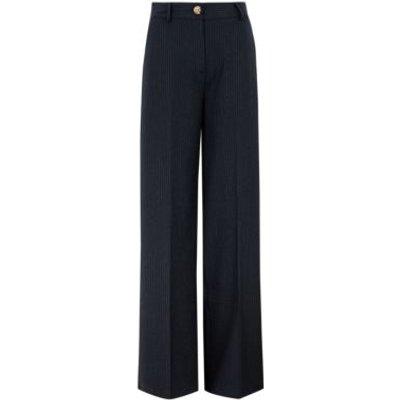 M&S Womens Pinstripe High Waist Wide Leg Trousers - 6REG - Navy Mix, Navy Mix