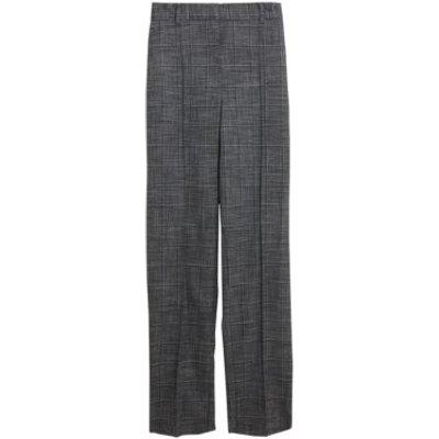 M&S Womens Freya Straight Leg Checked Trousers - 6REG - Grey, Grey