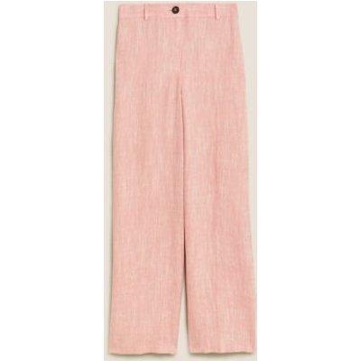 M&S Womens Wide Leg Trousers - 8REG - Pink, Pink,Chambray