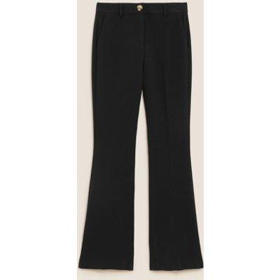M&S Womens Slim Fit Flared Trousers - 6REG - Black, Black