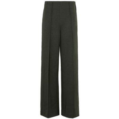 M&S Womens Jersey Textured Wide Leg Trousers - 6SHT - Bark, Bark,Black