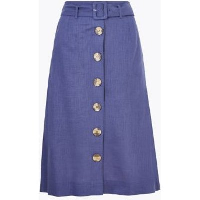 M&S Womens Linen Button Front Belted Midi A-Line Skirt - 8REG - Navy, Navy