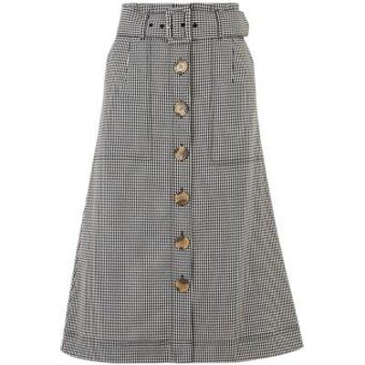 M&S Womens Gingham Button Front Midi A-Line Skirt - 8REG - Black Mix, Black Mix