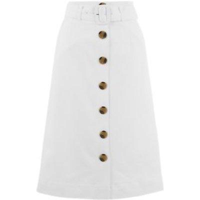 M&S Womens Button Front Midi A-Line Skirt - 8REG - White, White,Coffee