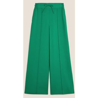 M&S Womens Drawstring Wide Leg Trousers - 8SHT - Bright Green, Bright Green