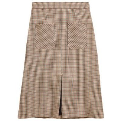 M&S Womens Checked Split Front Midi A-Line Skirt - 6LNG - Ivory Mix, Ivory Mix