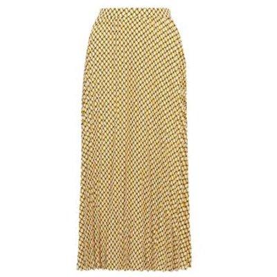 M&S Womens Geometric Pleated Midi Skirt - 24REG - Ochre, Ochre