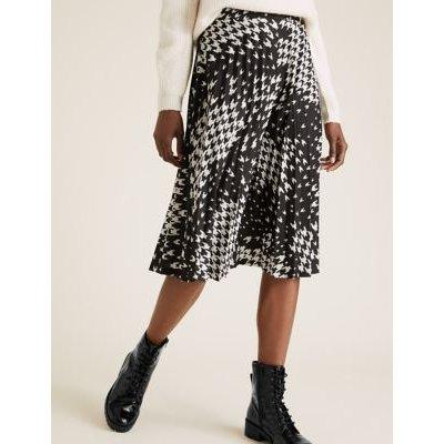 M&S Womens Jersey Dogtooth Pleated Midi Skirt - 6LNG - Black Mix, Black Mix