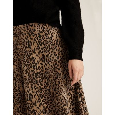 M&S Womens Cotton Jersey Animal Print Midi Skirt - 6LNG - Natural Mix, Natural Mix