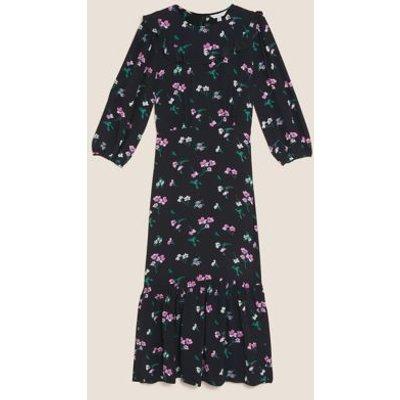 M&S X Ghost Womens Floral Frill Detail Midi Tea Dress - 6REG - Black Mix, Black Mix