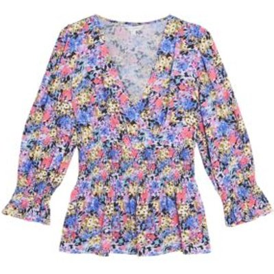 M&S X Ghost Womens Floral V-Neck Shirred Puff Sleeve Blouse - 6 - Multi, Multi