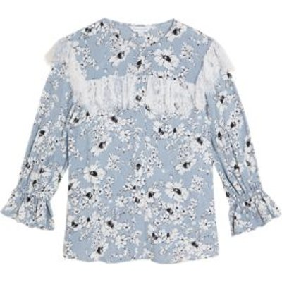 M&S X Ghost Womens Sheer Floral Lace Detail 3/4 Sleeve Blouse - 8 - Grey Mix, Grey Mix