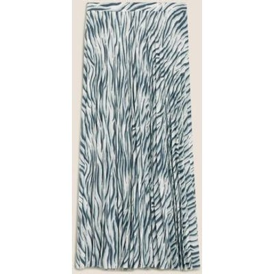 M&S Womens Animal Print Pleated Midi A-Line Skirt - 6REG - Blue Mix, Blue Mix