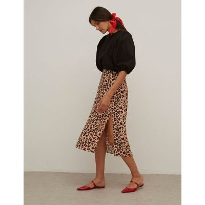 M&S Nobody'S Child Womens Leopard Print Side Spilt Midi A-Line Skirt - 16 - Brown, Brown
