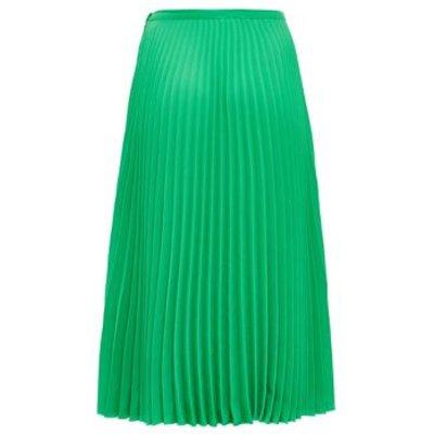 M&S Finery London Womens Crepe Pleated Midi Skirt - 8 - Emerald, Emerald