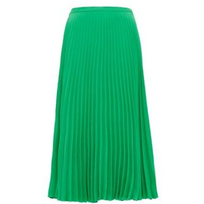 M&S Finery London Womens Crepe Pleated Midi Skirt - 8 - Emerald, Emerald