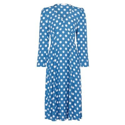 M&S Finery London Womens Polka Dot Print V Neck Midi Tea Dress - 8 - Blue Mix, Blue Mix