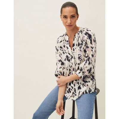 M&S Phase Eight Womens Pure Cotton Printed 3/4 Sleeve Blouse - 8 - Cream Mix, Cream Mix