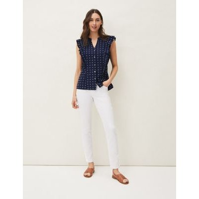 M&S Phase Eight Womens Cotton Ditsy Floral Frill Detail Blouse - 8 - Navy Mix, Navy Mix