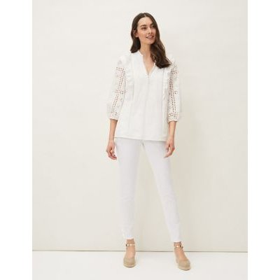 M&S Phase Eight Womens Pure Cotton Broderie ¾ Sleeve Blouse - 10 - White, White