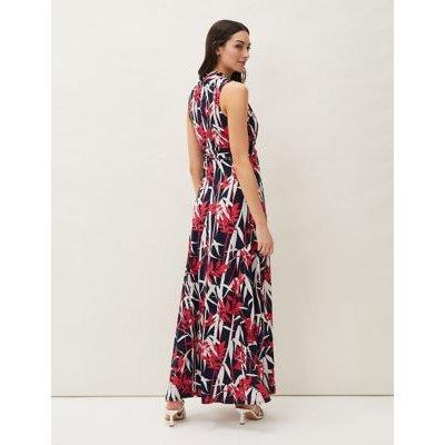 M&S Phase Eight Womens Leaf Print V-Neck Maxi Waisted Dress - 8 - Navy Mix, Navy Mix