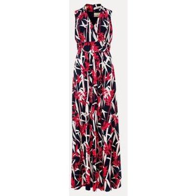 M&S Phase Eight Womens Leaf Print V-Neck Maxi Waisted Dress - 10 - Navy Mix, Navy Mix