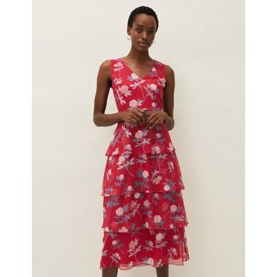 M&S Phase Eight Womens Floral V-Neck Midi Tiered Dress - 16 - Pink Mix, Pink Mix