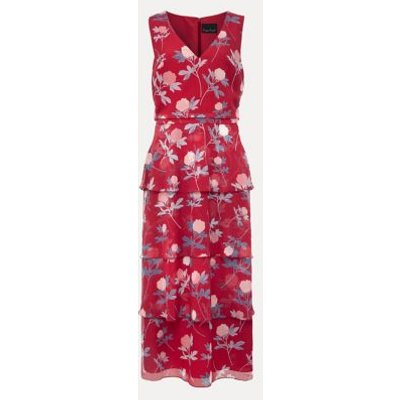 M&S Phase Eight Womens Floral V-Neck Midi Tiered Dress - 10 - Pink Mix, Pink Mix