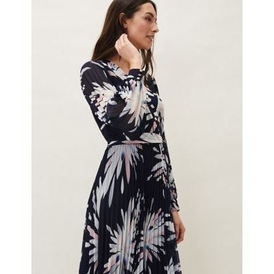 M&S Phase Eight Womens Floral V-Neck Pleated Midaxi Tea Dress - 8 - Navy Mix, Navy Mix