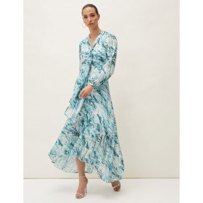 M&S Phase Eight Womens Printed V-Neck Tie Detail Maxi Tea Dress - 10 - Blue Mix, Blue Mix