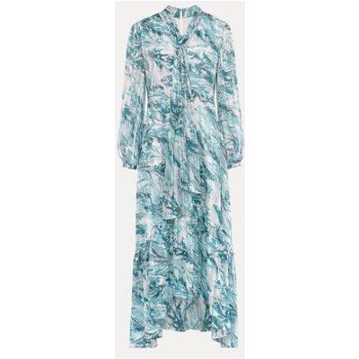 M&S Phase Eight Womens Printed V-Neck Tie Detail Maxi Tea Dress - 12 - Blue Mix, Blue Mix