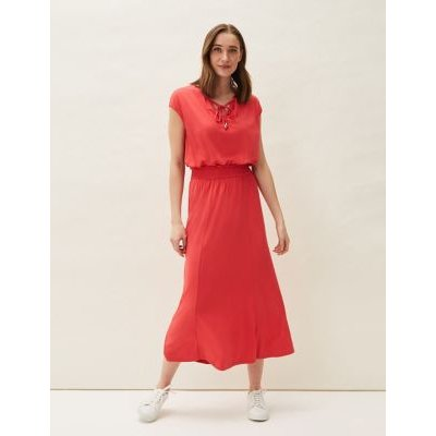M&S Phase Eight Womens Tie Neck Shirred Midaxi Waisted Dress - 12, Red
