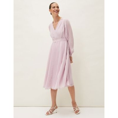M&S Phase Eight Womens V-Neck Pleated Midi Dress - 8 - Pink, Pink