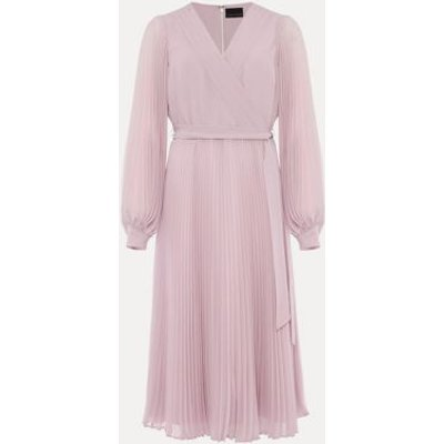 M&S Phase Eight Womens V-Neck Pleated Midi Dress - 10 - Pink, Pink
