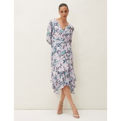M&S Phase Eight Womens Floral V-Neck Frill Detail Midaxi Dress - 16 - Purple Mix, Purple Mix