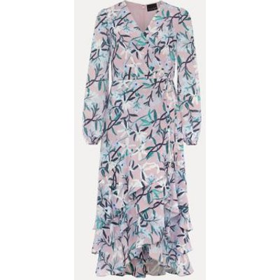 M&S Phase Eight Womens Floral V-Neck Frill Detail Midaxi Dress - 8 - Purple Mix, Purple Mix