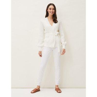 M&S Phase Eight Womens Pure Cotton Textured V-Neck Wrap Cardigan - 10 - White, White