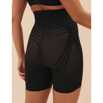"M&S Womens Firm Control Magicwearâ""¢ Geometric Waist & Thigh Cincher - 18 - Black, Black,Opaline"