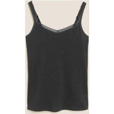 """M&S Womens Lace Trim Vest with Secret Supportâ""""¢ - 6 - Black, Black,White"""