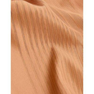 M&S Womens Firm Control Sheer Stripe No VPL High Leg Knickers - 10 - Rich Amber, Rich Amber,Black,Opaline