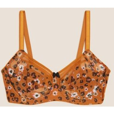 M&S Womens Printed Mesh Underwired Max Support Bra F-J - 32F - Ginger, Ginger,Black Mix,Rose Quartz
